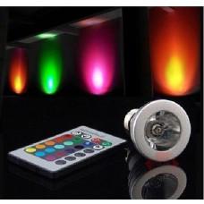Лампа светодиодная RGB E27 3Вт + пульт ДУ